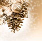 Christmas background with golden knob — Stock Photo