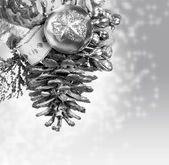 Christmas background with silver knob — Stock Photo