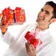 Glamour man with present — Stock Photo #8652130
