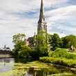 Church by the lake — Stock Photo