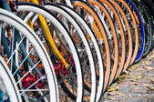 Bicycles in the town of Copenhagen, Denmark — 图库照片