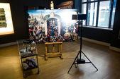 Restoration of historical painting — Stock Photo