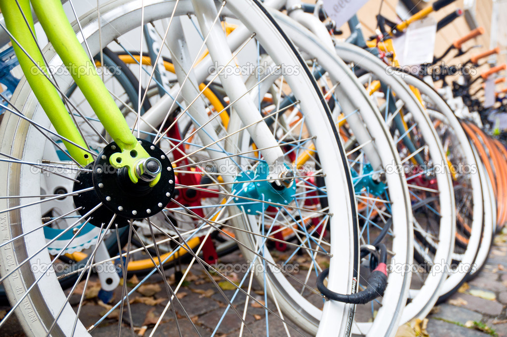 Large number of colorful bicycles — Stock Photo #15348005