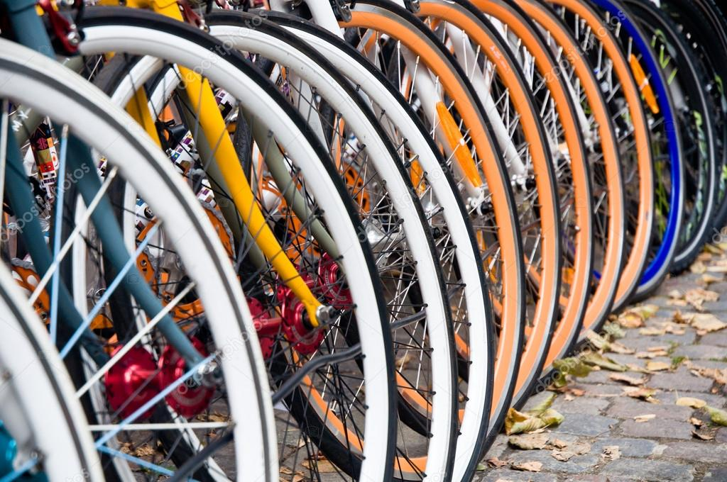 Large number of colorful bicycles — Stock Photo #15348011