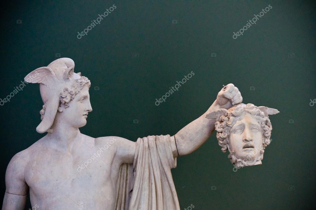 Ancient greek hero holding decapitated head  Stock Photo #15348119