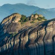 Monasteries of Meteora valley in sunrise — Stock Photo