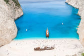 Famous Navagio beach, Zakynthos, Greece, unique point of view — Stock Photo