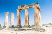 Ruins of ancient temple in Corinth, Greece - archaeological site — Stock Photo
