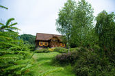 Romantic rustic wooden cottage in rural area — Стоковое фото