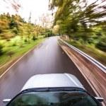 Car driving fast, fisheye photo — Stock Photo #50144607