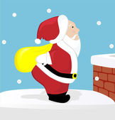 Cute Santa Claus on the roof — Stock Vector