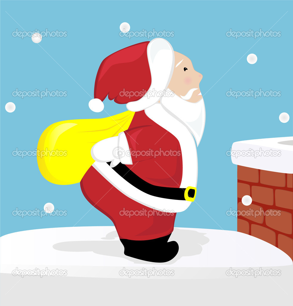 Cute Santa Claus on the roof  Stock Vector #15964893