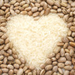 Rice and beans heart — Stock Photo