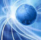 Soyut mavi gösterim amacıyla küresel iletişim teknolojisi — Stok fotoğraf