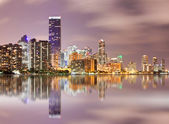 Miami Florida panorama of downtown buildings at sunset — Stock Photo