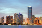 Miami Florida panorama of downtown buildings at sunset — Stock Photo