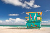 Miami Beach Florida, lifeguard house — Stock Photo