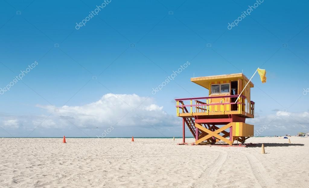 Miami beach in florida casa del bagnino foto stock for Piani di casa stile cracker florida
