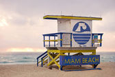 Colorful lifeguard tower in Miami Beach Florida — Stock Photo