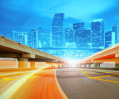 Abstract Illustration of an urban highway going to the modern city — Stock Photo