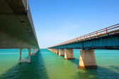 Bridges going to infinity. Seven miles bridge in Florida keys — Stock Photo