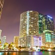 Stock Photo: City of Miami Floridcolorful night panoramof downtown