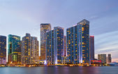 City of Miami Florida, colorful night panorama of downtown — Stock Photo