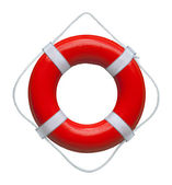 Red ring buoy isolated on white background — Stock Photo