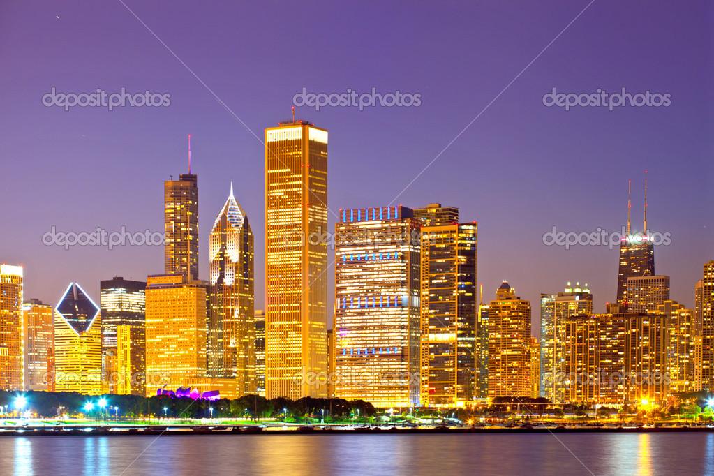 La ciudad de chicago eeuu horizonte colorido panorama for Sol del centro