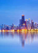 City of Chicago USA, colorful sunset panorama skyline of downtown — Stock Photo