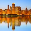 Stock Photo: City of Chicago USA, colorful sunset panoramskyline of downtown