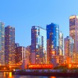 City of Chicago USA,   colorful sunset panorama skyline of downtown — Stock fotografie