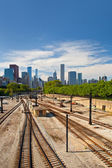 Railroad tracks going to downtown Chicago — Stock Photo