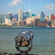 Stock Photo: Observation deck with binoculars, view of New York City