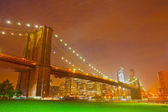 New York City night panorama with Brooklyn Bridge — Stock Photo
