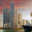 Stock Photo: Miami Floridbusiness and residential buildings at sunset
