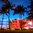 Miami Beach Floridhotels and restaurants at sunset — Photo #38921705