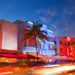 Stock Photo: Miami Beach Floridhotels and restaurants at sunset