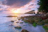 Colorful landscape of a beautiful tropical sunset in Bahia Honda park, Key West Florida — Stock Photo