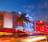 Miami Beach Florida hotels and restaurants at sunset — Stock Photo
