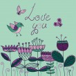 Card with a bird, flowers and butterflies and words: Love You — Vector de stock  #39100323