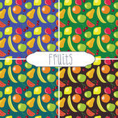 Funny fruits pattern set — Stock Vector