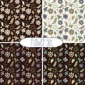 Flower pattern set — Stock Vector