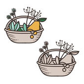 Vector basket with fruits and plant — Stock Vector