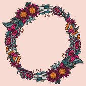 Kulatý květinový rámeček — Stock vektor