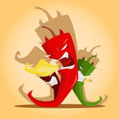 Angry red and green chili peppers — Stock Vector