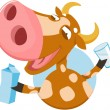 Funny cow with milk — Stock Vector