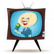 Stock Vector: Correspondent on TV