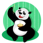 Panda bear with noodles — Stock Vector