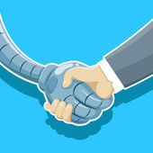 Handshake of robot and human being. — Stock Vector